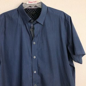 Ted Baker Button Down Short Sleeve Polka Dot Shirt